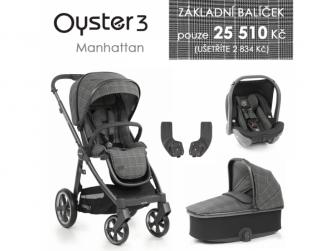 3 Základní set 4 v 1 MANHATTAN (CITY GREY rám) kočár + hl.korba + autosedačka + adaptéry