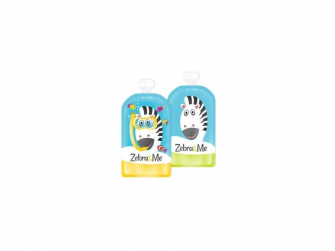 Kapsička na dětskou stravu na opakované použití  – 2ks potápěč-zebra