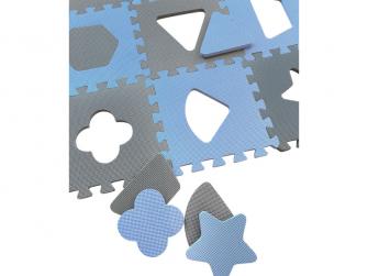 Pěnová hrací podložka puzzle Geometrické tvary, Blue 90x90 cm 3