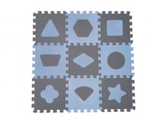 Pěnová hrací podložka puzzle Geometrické tvary, Blue 90x90 cm