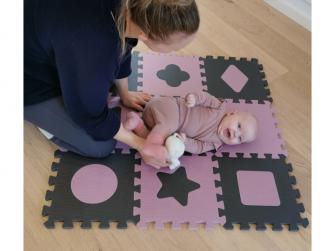 Pěnová hrací podložka puzzle Geometrické tvary, Rose 90x90 cm 5