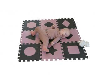 Pěnová hrací podložka puzzle Geometrické tvary, Rose 90x90 cm 8