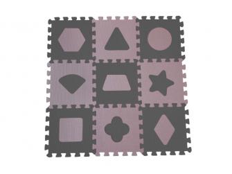 Pěnová hrací podložka puzzle Geometrické tvary, Rose 90x90 cm