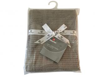 Dětská háčkovaná bavlněná deka Babydan Grey,75x100cm