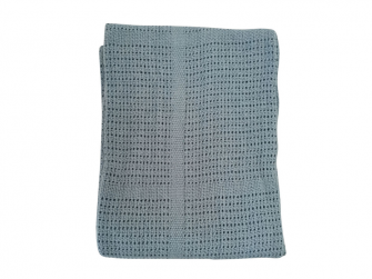 Dětská háčkovaná bavlněná deka Babydan Dusty Blue,75x100cm 2