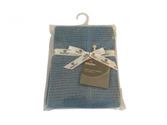 Dětská háčkovaná bavlněná deka Babydan Dusty Blue,75x100cm