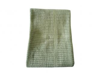 Dětská háčkovaná bavlněná deka Babydan Dusty Green,75x100cm