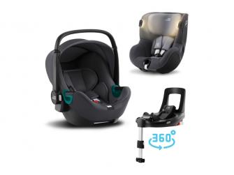 Set autosedačka Baby-Safe 3 i-Size+Flex Base iSense+Autosedačka Dualfix iSense, Midnight Grey