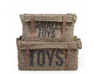 Slaměné koše na hračky 2 ks 2