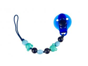 Klip na dudlík modré korálky