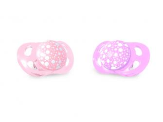 Dudlík mini 0-6m Pastelově růžová Fialová, 2 ks