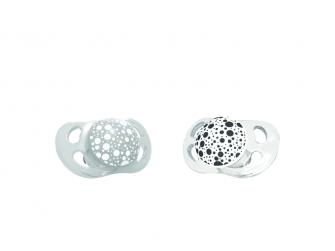 2x Dudlík mini 0-6m Pastelově šedá a bílá