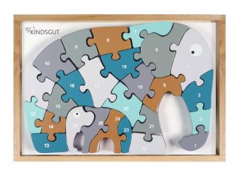 Dřevěné puzzle s čísly Slon