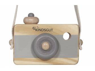 Dřevěný fotoaparát tmavě šedý