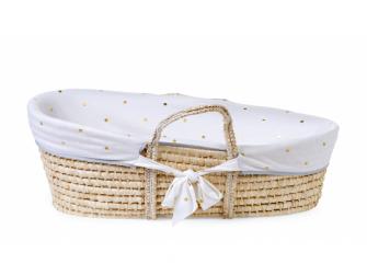 Košík pro miminko Natural + matrace + potah Jersey Gold Dots