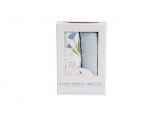 Mušelínová zavinovací plena Deluxe 120x120cm 2ks Blue Windflower 2